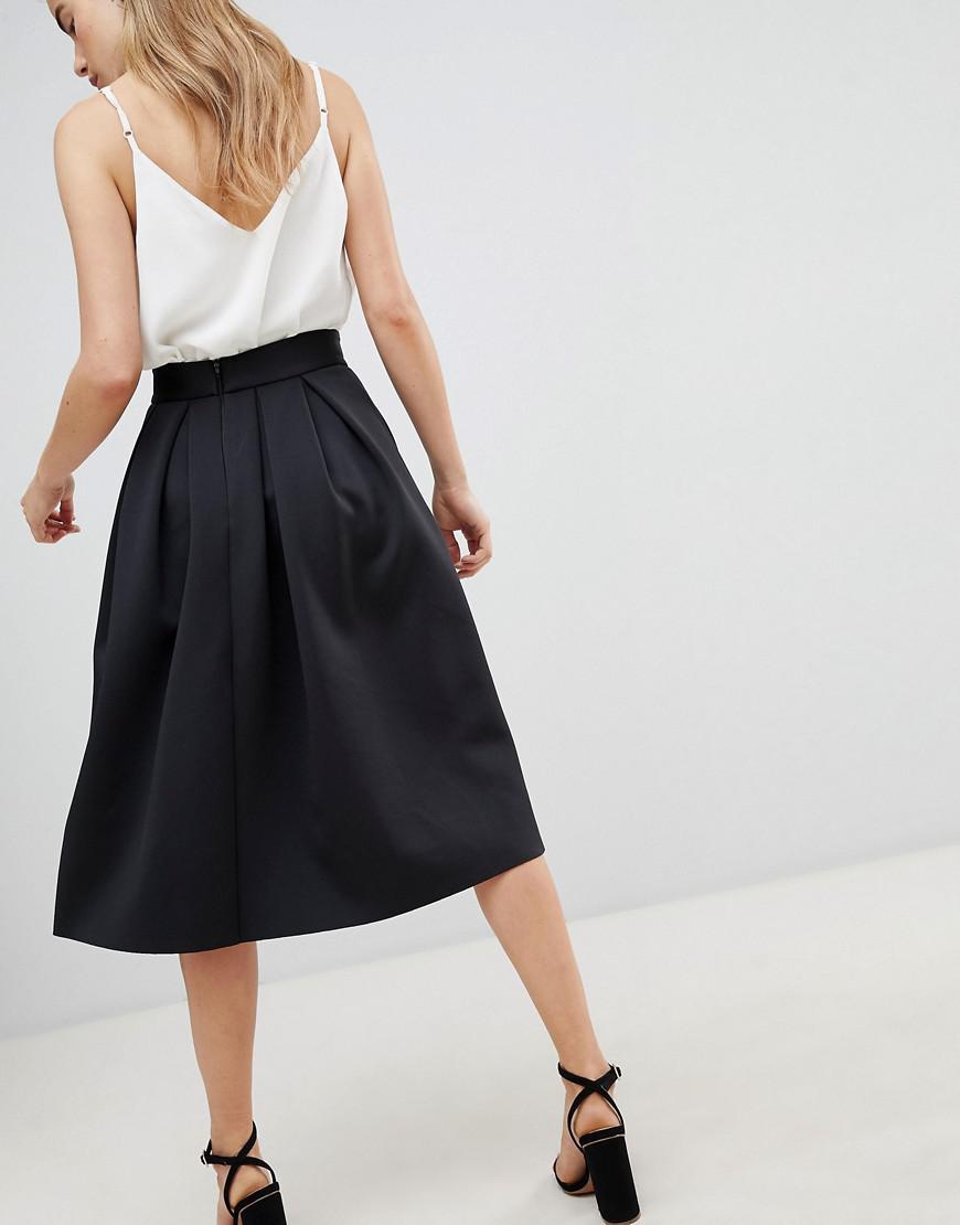 a513ec5a7 ASOS Midi Prom Skirt In Scuba in Black - Lyst
