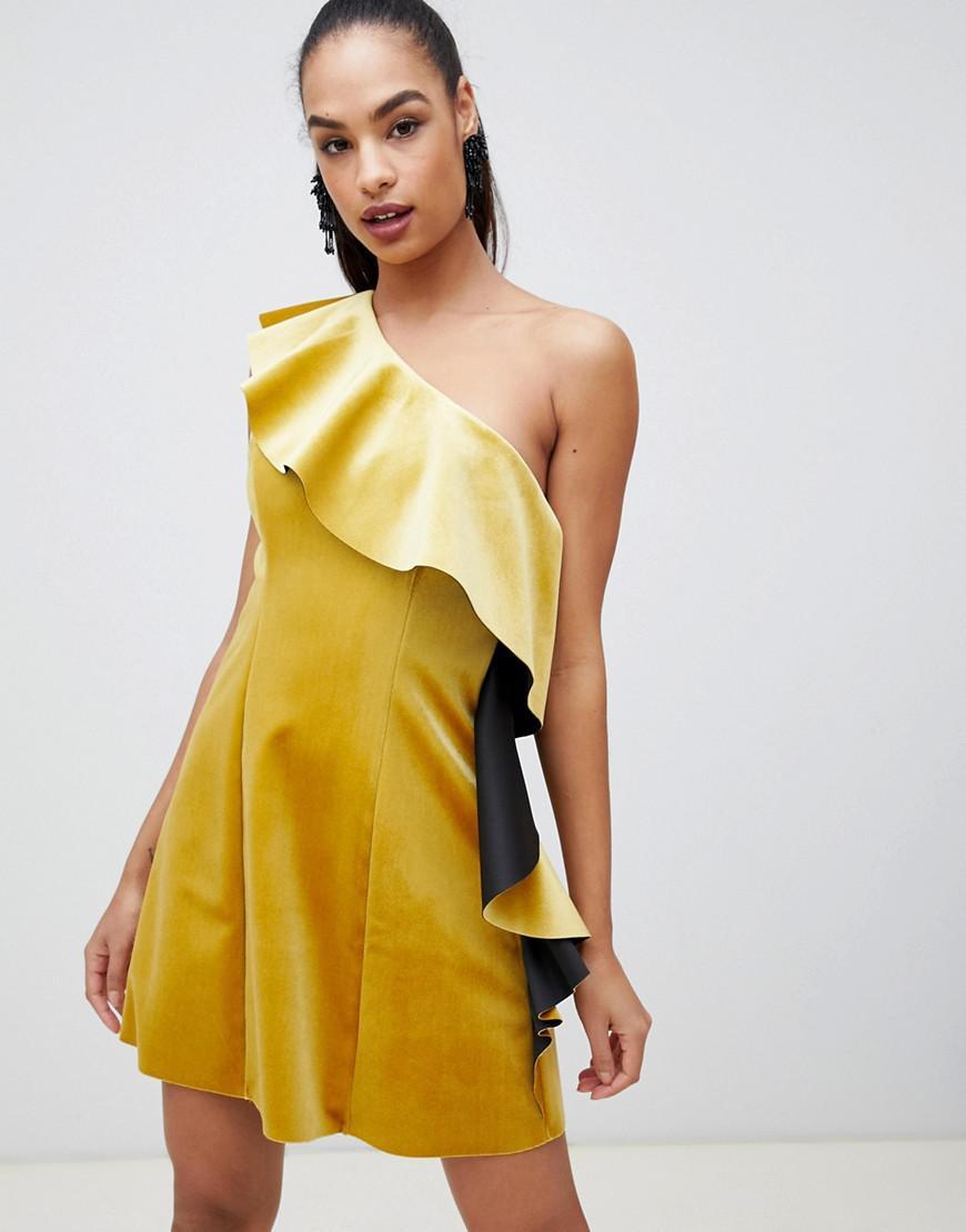 94424aab1fe Lyst - ASOS Velvet One Shoulder Ruffle Mini Dress in Yellow