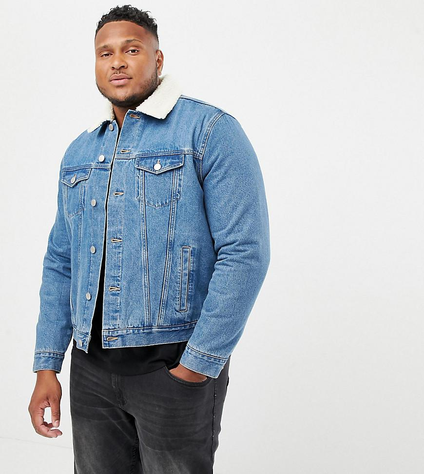 33ff09776 New Look Plus Borg Denim Jacket In Washed Blue in Blue for Men - Lyst