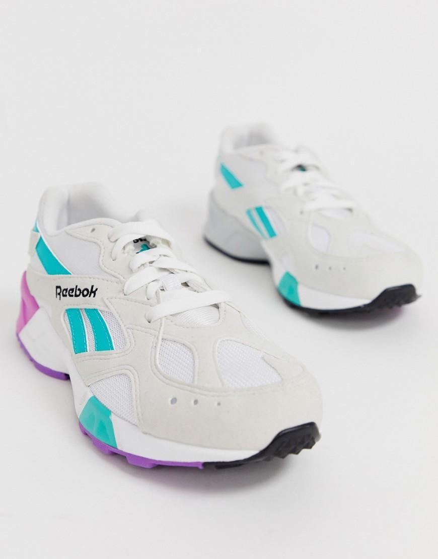 9efbc1c9f1a Reebok Aztrek White And Teal Sneakers in Gray - Lyst