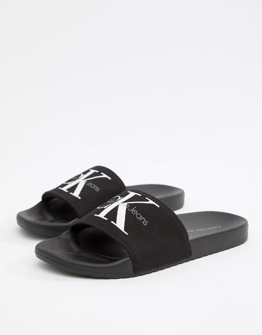 e764a1a2aa82 Calvin Klein Viggo Logo Sliders In Black in Black for Men - Save 3 ...