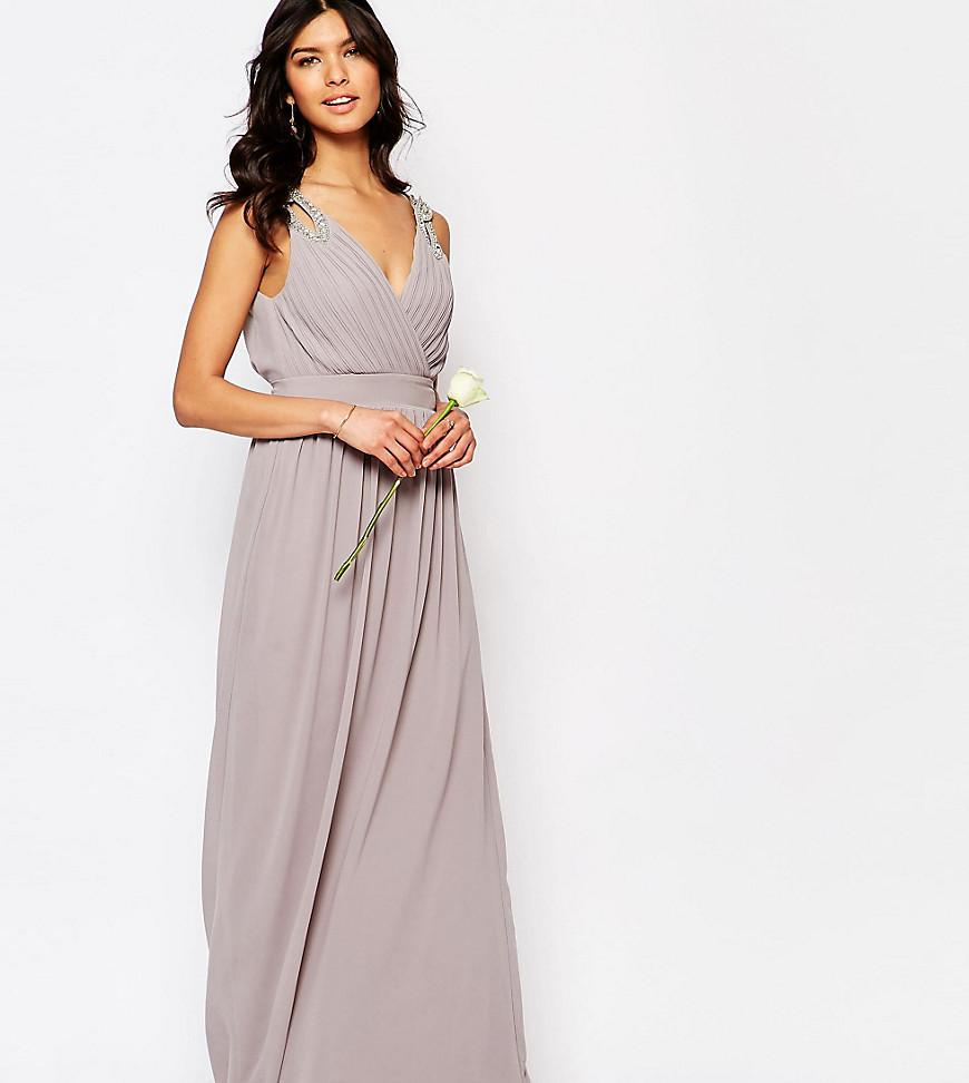 Lyst tfnc london wedding wrap embellished maxi dress in gray for Tfnc wedding wrap maxi dress