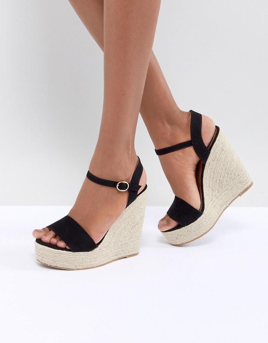 f60c8c22906d Glamorous - Black Espadrille Wedge Sandals - Lyst. View fullscreen