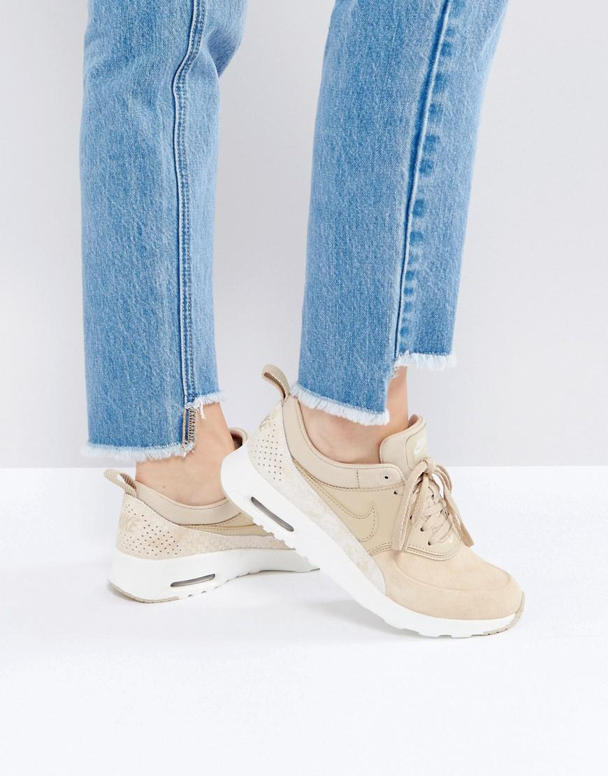 special sales shoes for cheap new release Air Max Thea Premium Trainers In Tan Faux Snake