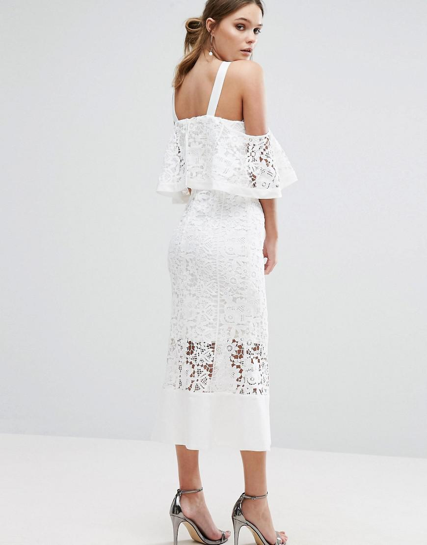 Jarlo Frill Layer Cold Shoulder Lace Midi Dress In White