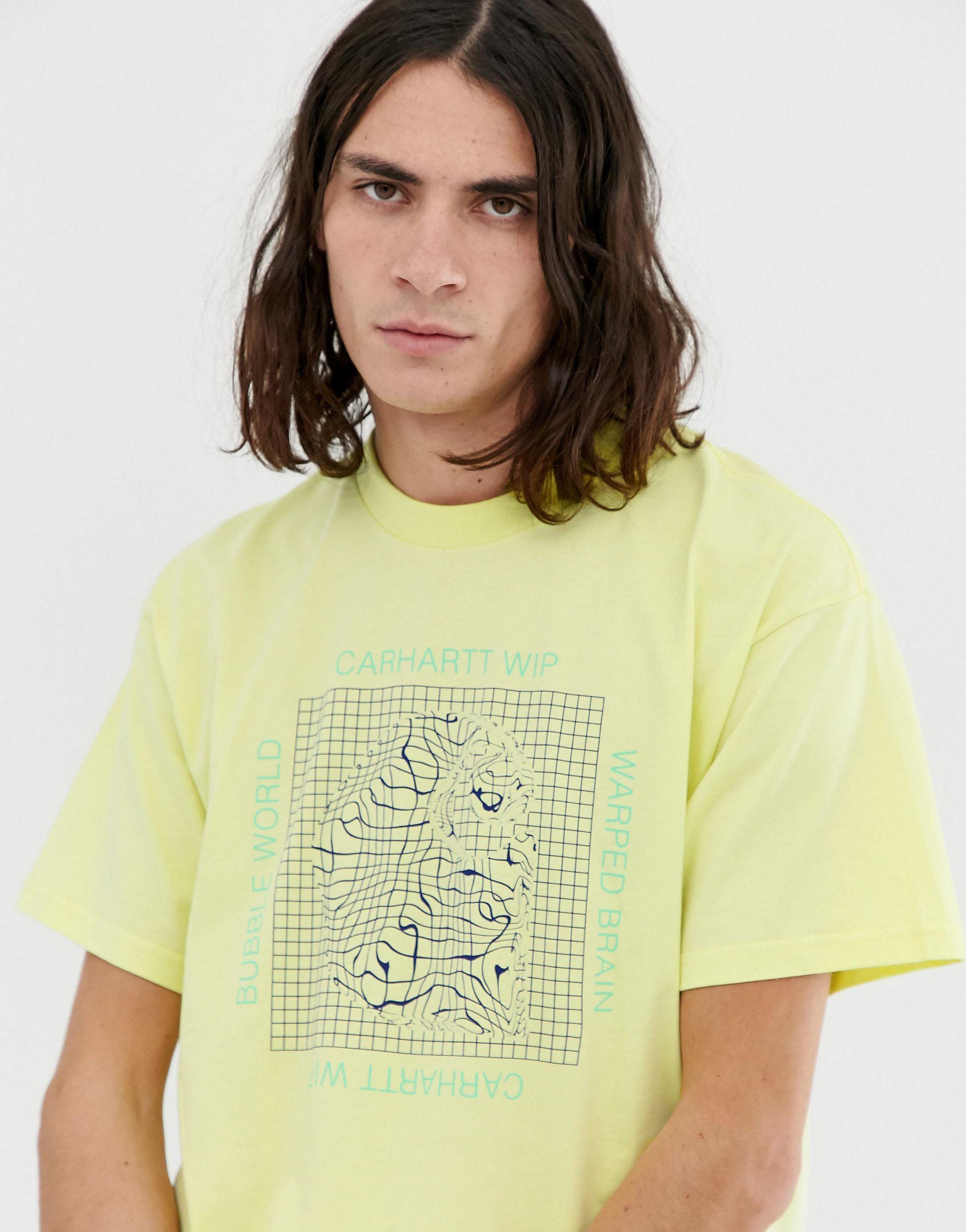 Carhartt WIP Katoen Grid C - T-shirt Met Korte Mouwen in het Geel voor heren