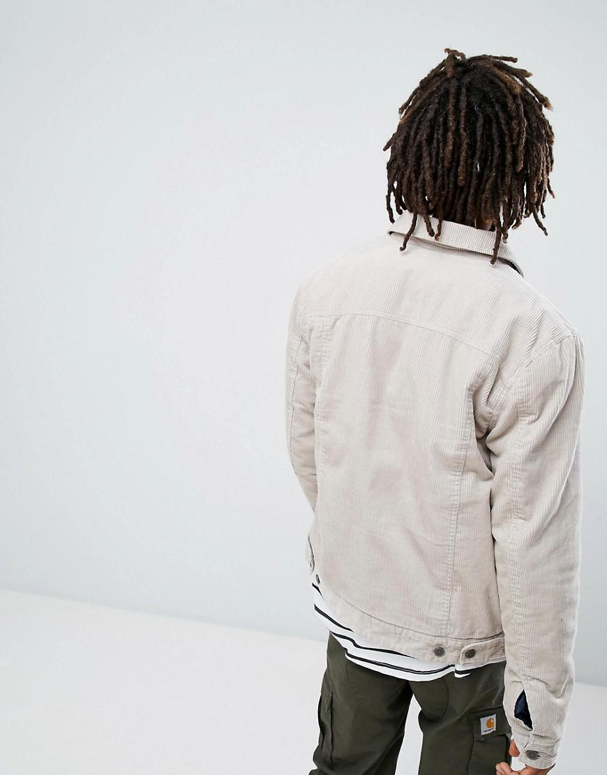 ASOS Corduroy Asos Cord Jacket With Check Lining In Stone for Men