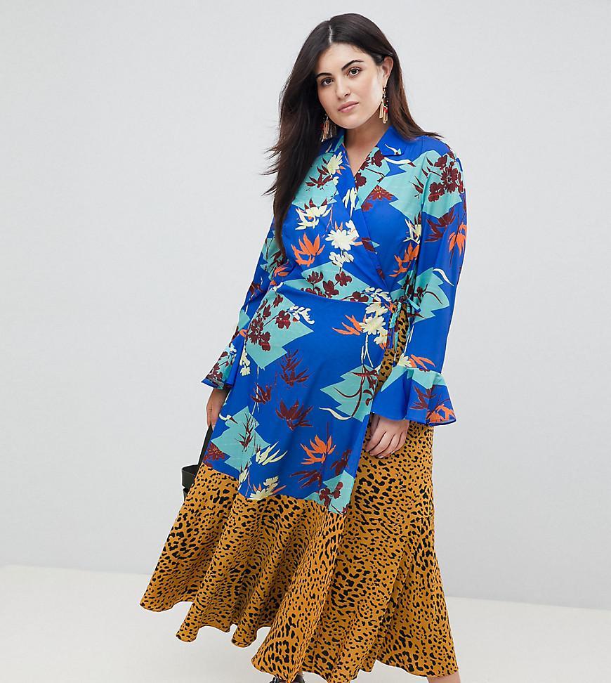 6c6c3c9d0 ASOS Asos Design Curve Mix Print Wrap Maxi Dress With Fluted Sleeve ...