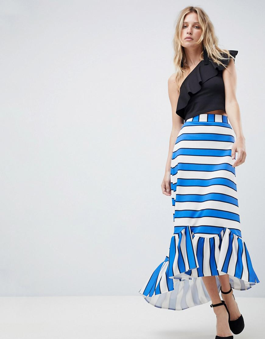 acdef7b95d Lyst - ASOS Asos Scuba Midaxi Skirt With Scallop Hem In Stripe in Blue