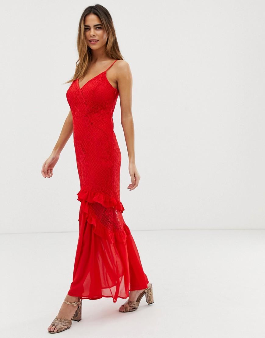 b1ec56d43 Vestido largo estilo camisola con capa superior de encaje transparente con  detalle de volantes de mujer de color rojo