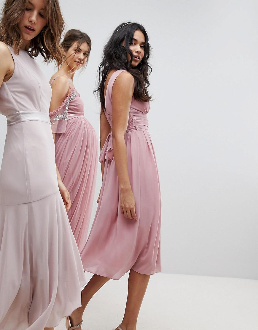 69dae7e981e9 TFNC London Wrap Front Midi Bridesmaid Dress With Tie Back in Pink - Lyst