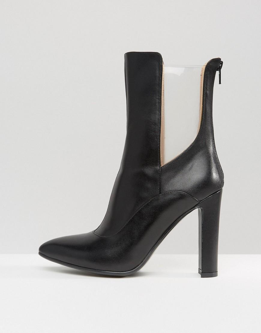 Lavish Alice Leather High Ankle Boot With Clear Insert in Black
