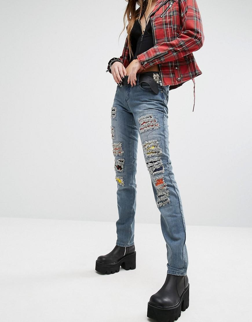 Lyst tripp nyc skinny jean with patches in blue