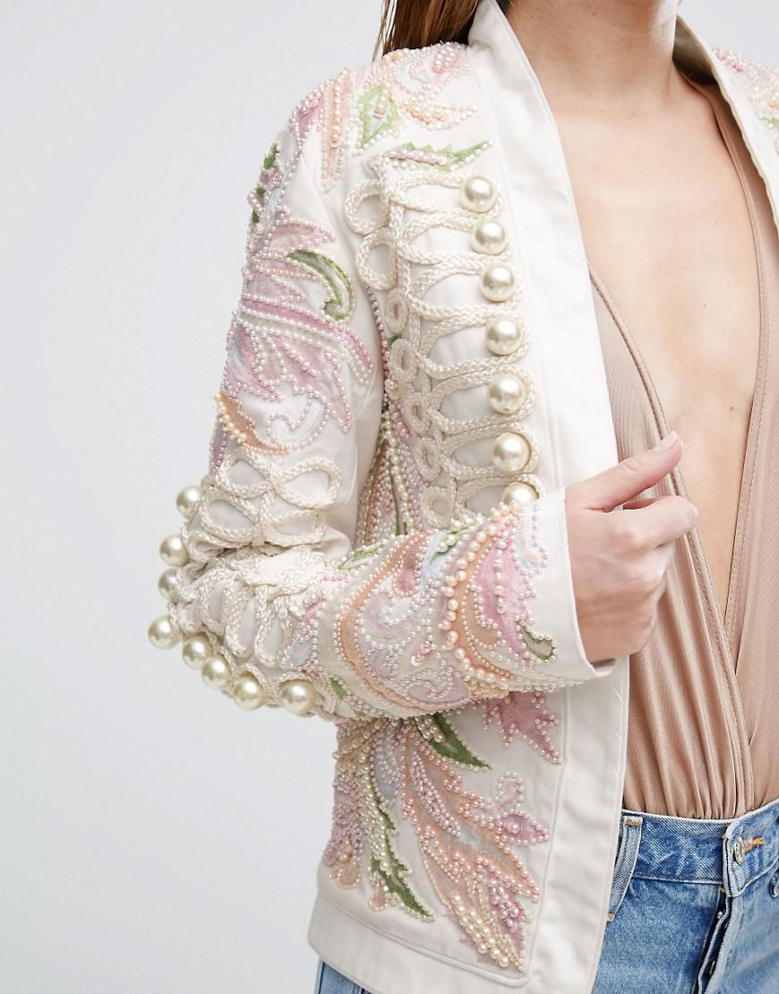 A star is born embroidered trophy jacket in natural lyst