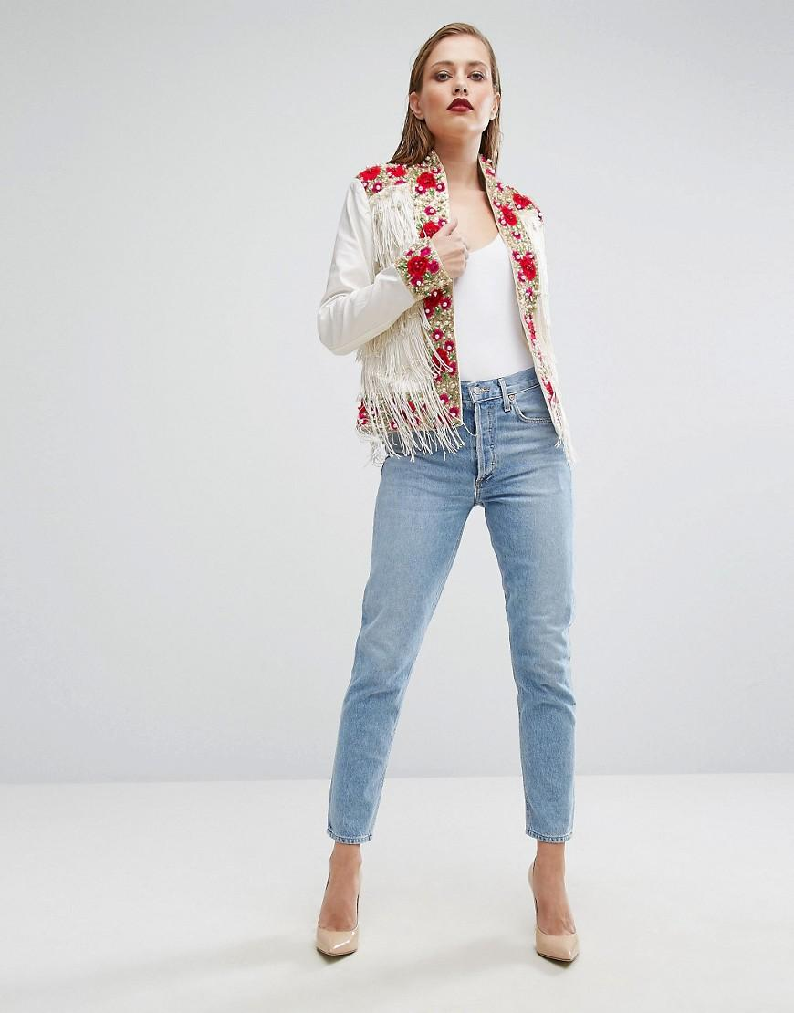Lyst a star is born rose embroidered trophy jacket with