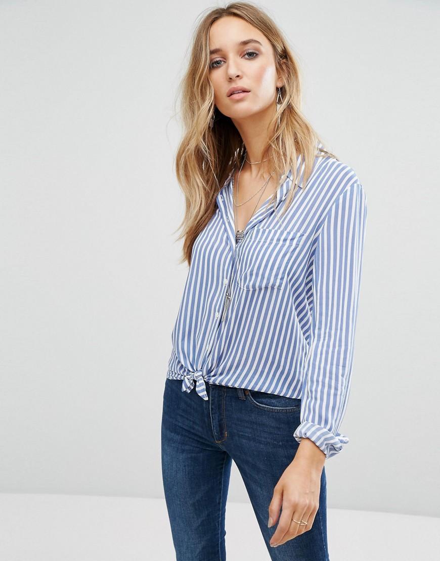 76fce894844efd Mango Stripe Tie Front Shirt in Blue - Lyst
