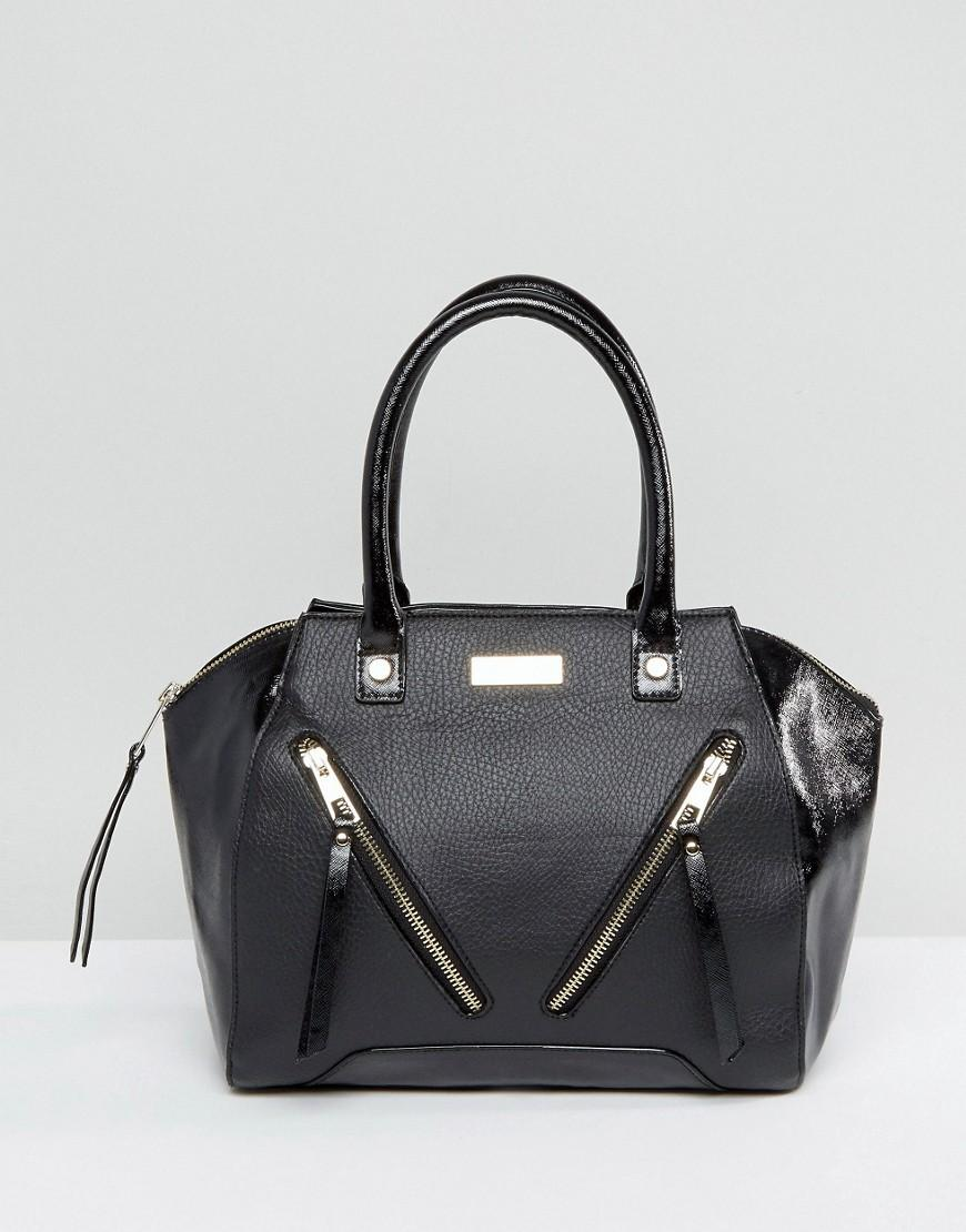 Lipsy Black Double Zip Front Grab Bag in Black