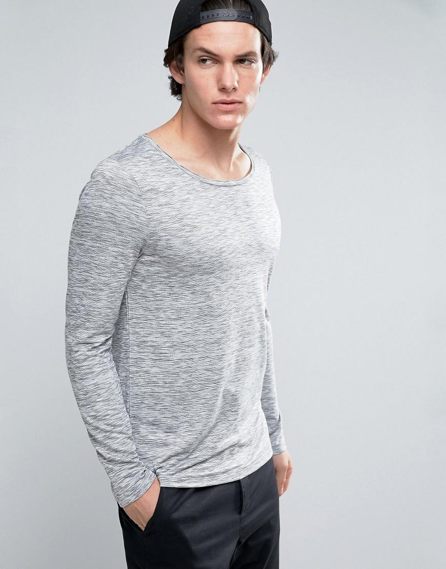Asos long sleeve t shirt in space dye with scoop neck in for Scoop neck long sleeve shirt