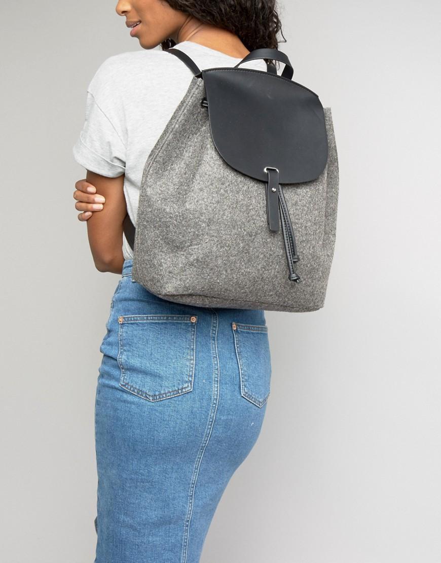 Mango Felt Backpack in Grey (Grey)