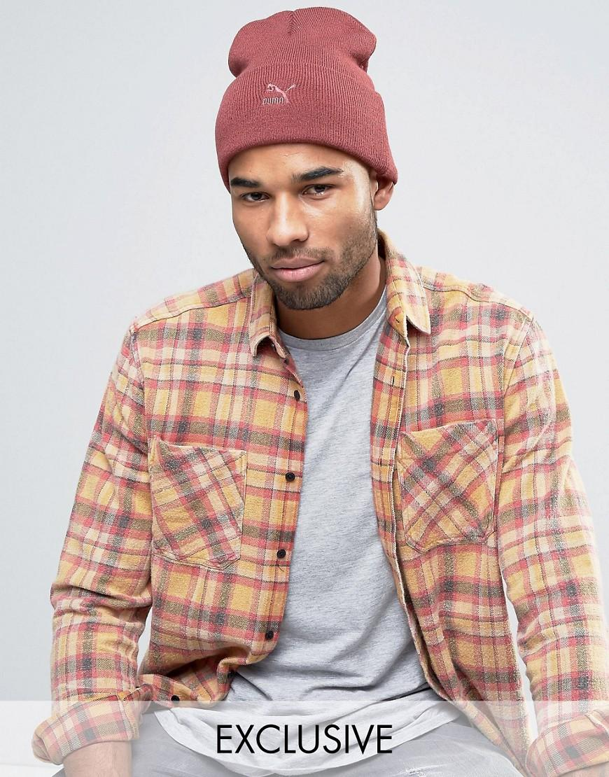 ab03bf26b PUMA Red Archive No 1 Beanie In Burgundy Exclusive To Asos 02142802 for men