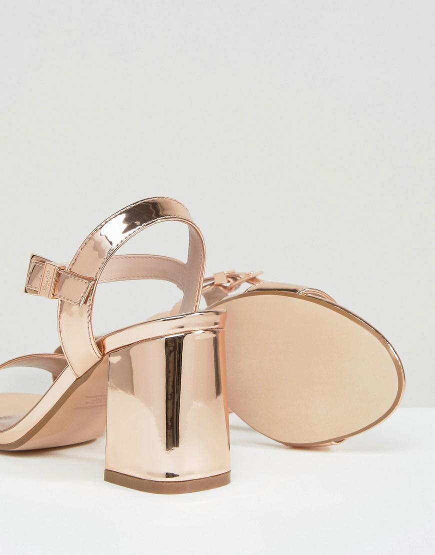 Dune Mylo Rose Gold Block Heel Sandals Lyst