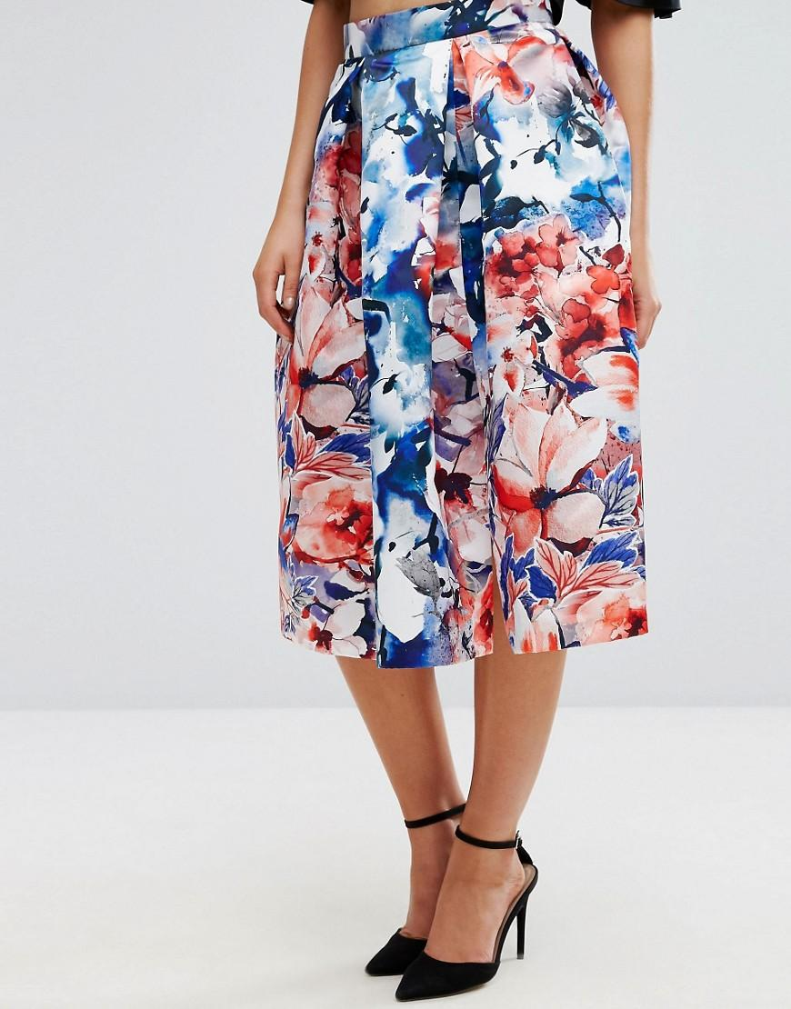 closet prom satin midi skirt in floral in blue lyst