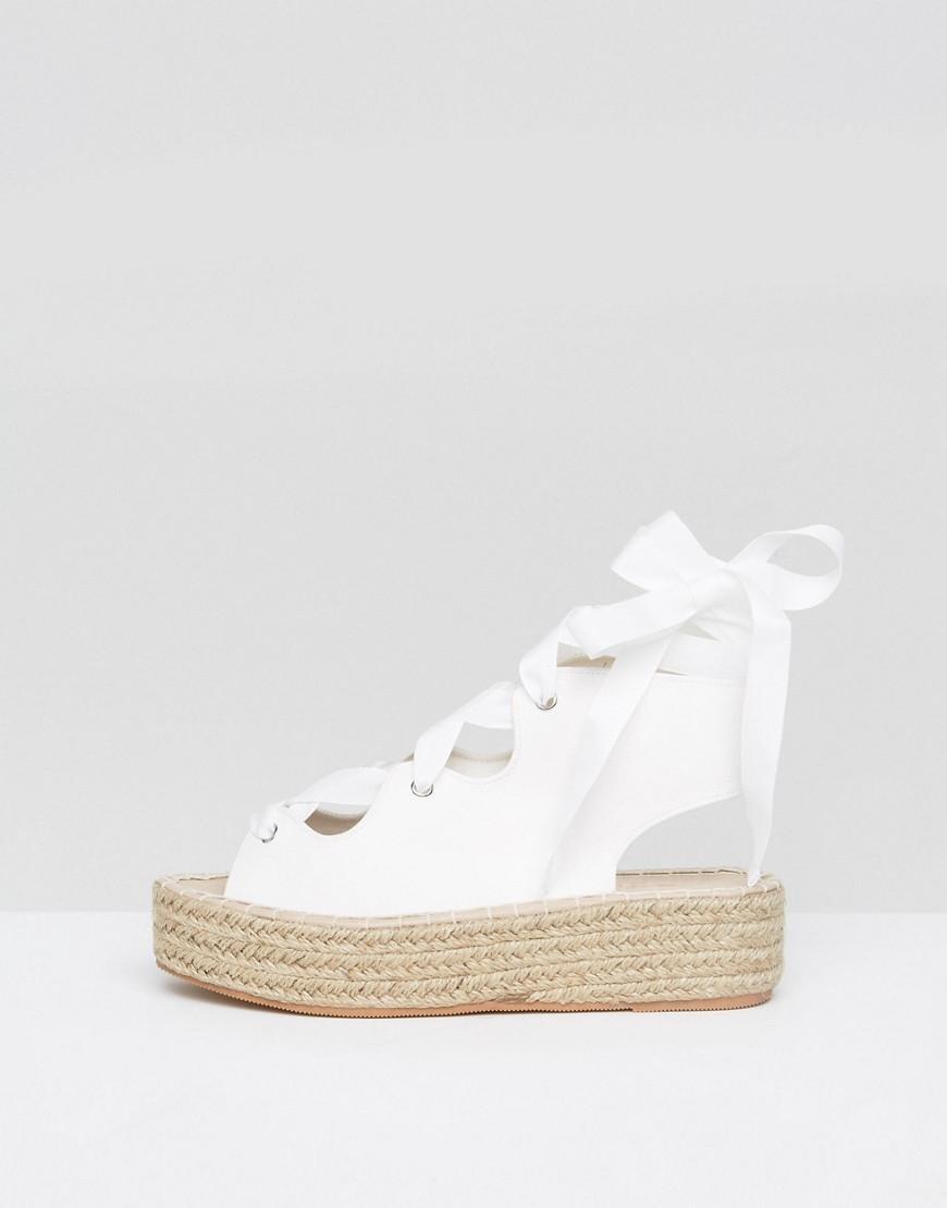 lyst asos jaycena lace up espadrille sandals in white. Black Bedroom Furniture Sets. Home Design Ideas