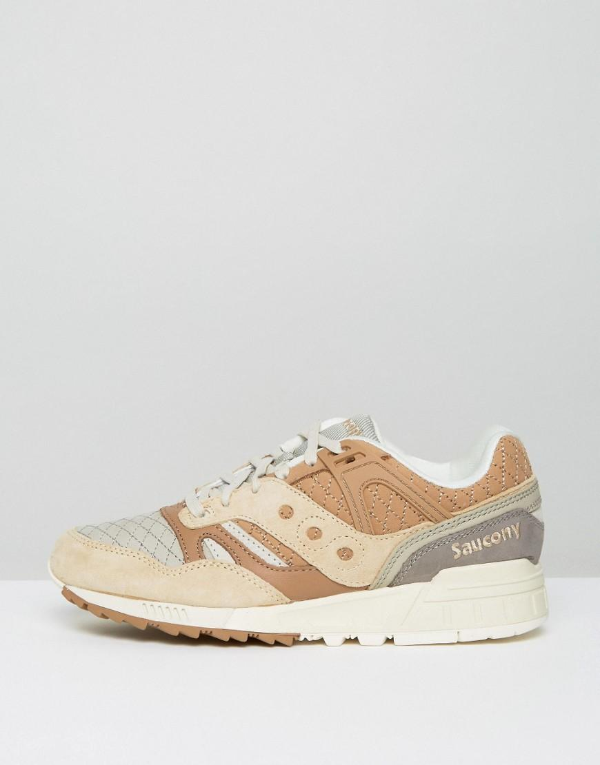 Saucony Leather Grid Sd Quilted Packtrainers In Tan S70308-2 for Men