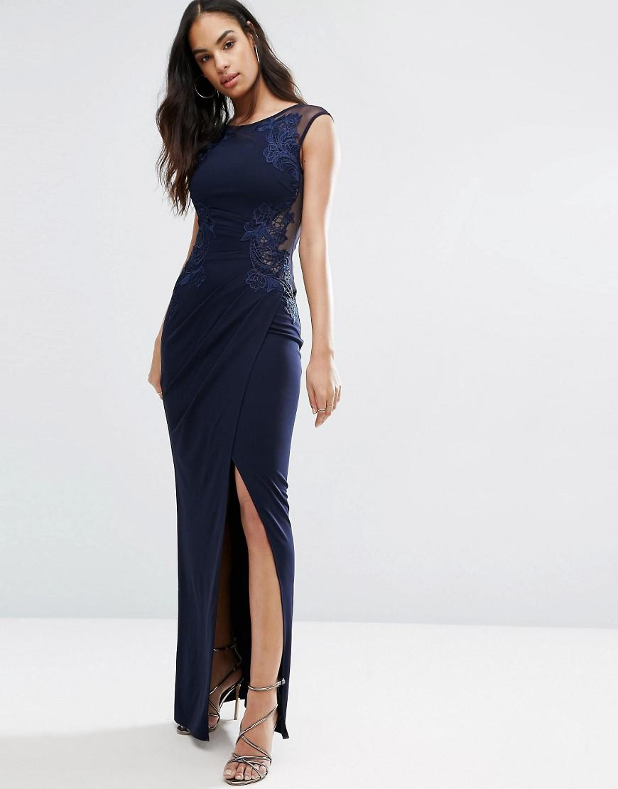 Lipsy Michelle Keegan Loves Ruched Lace Maxi Dress In Blue -5812
