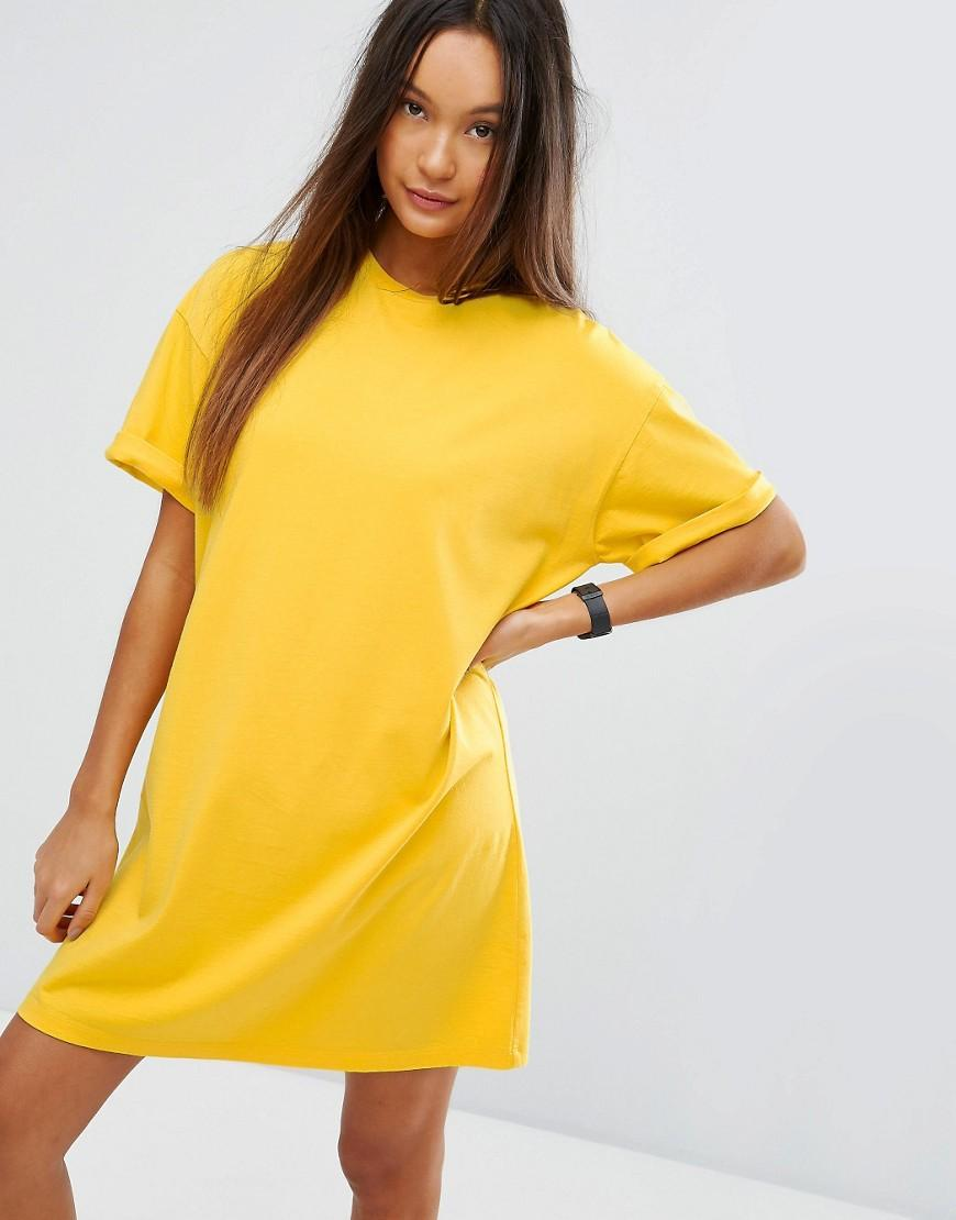 Asos Ultimate T-shirt Dress With Rolled Sleeves in Yellow | Lyst