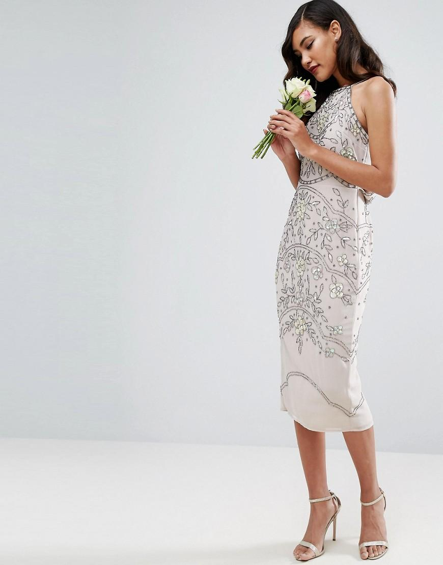 Asos wedding embellished floral drape back pencil midi dress - Gallery Women S Pencil Dresses