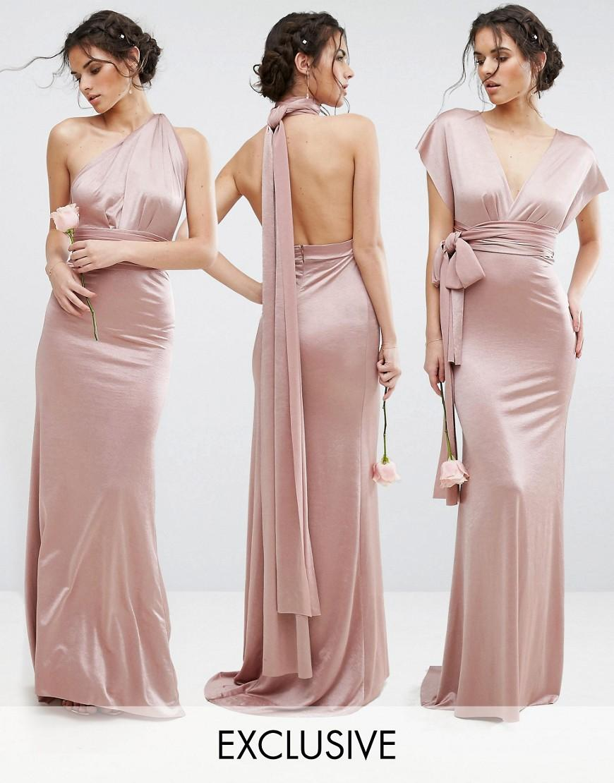 Tfnc london Wedding Multiway Maxi Dress In Sheen in Pink ...
