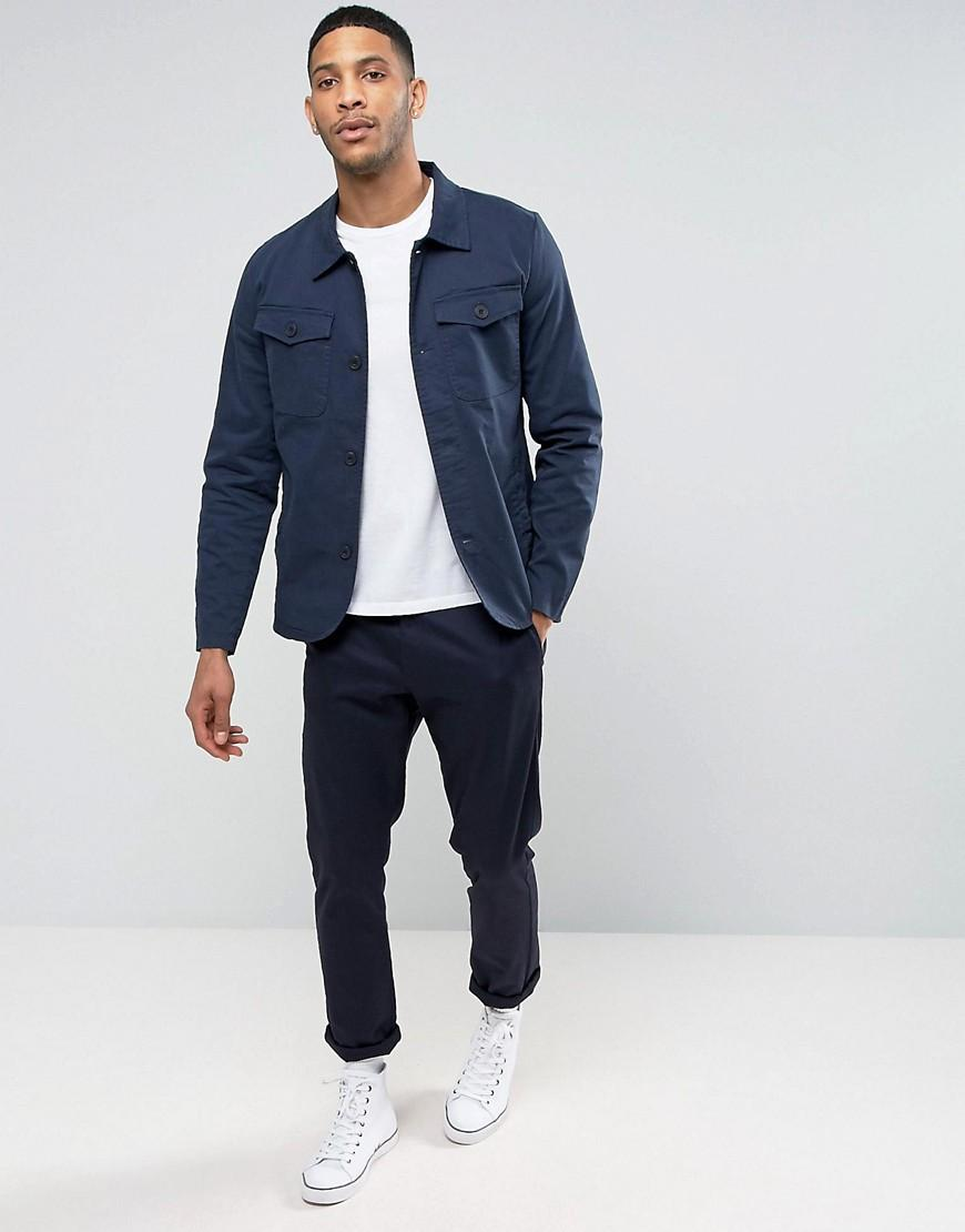 Casual Friday Canvas Harrington Jacket in Navy (Blue) for Men