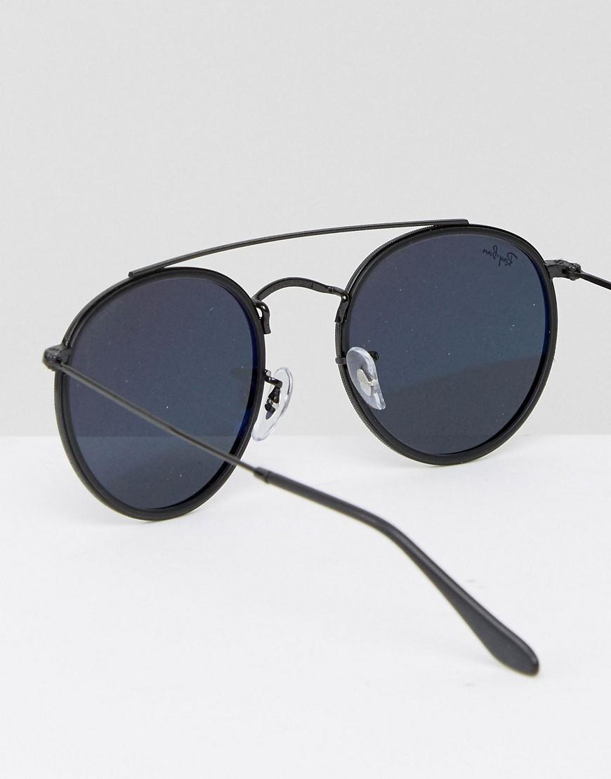 Ray-Ban Round Sunglasses In Black With Double Brow 0rb3647n for Men