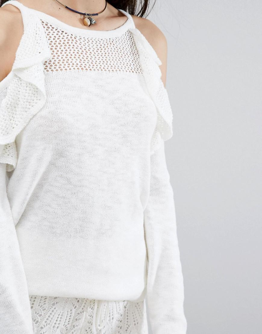 Hollister Cotton Open-weave Cold Shoulder Knit in White