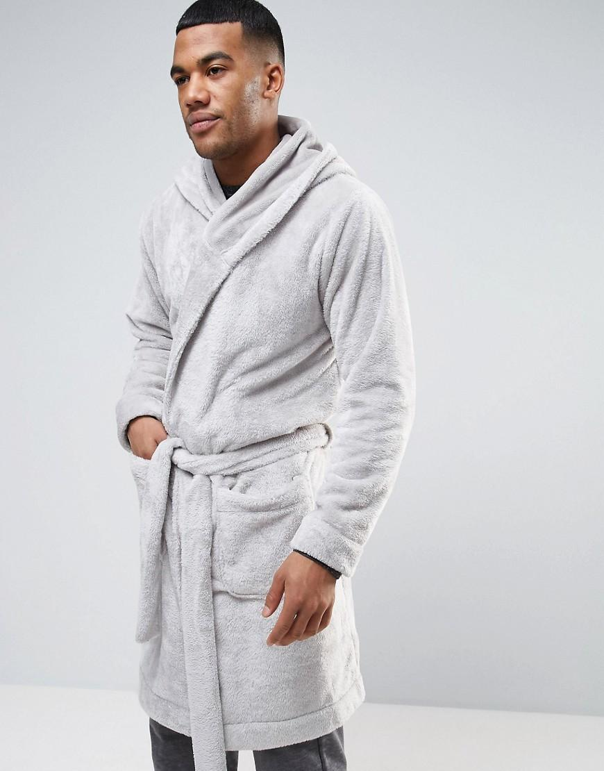 Lyst - ASOS Hooded Fleece Robe in Gray for Men 339a71644