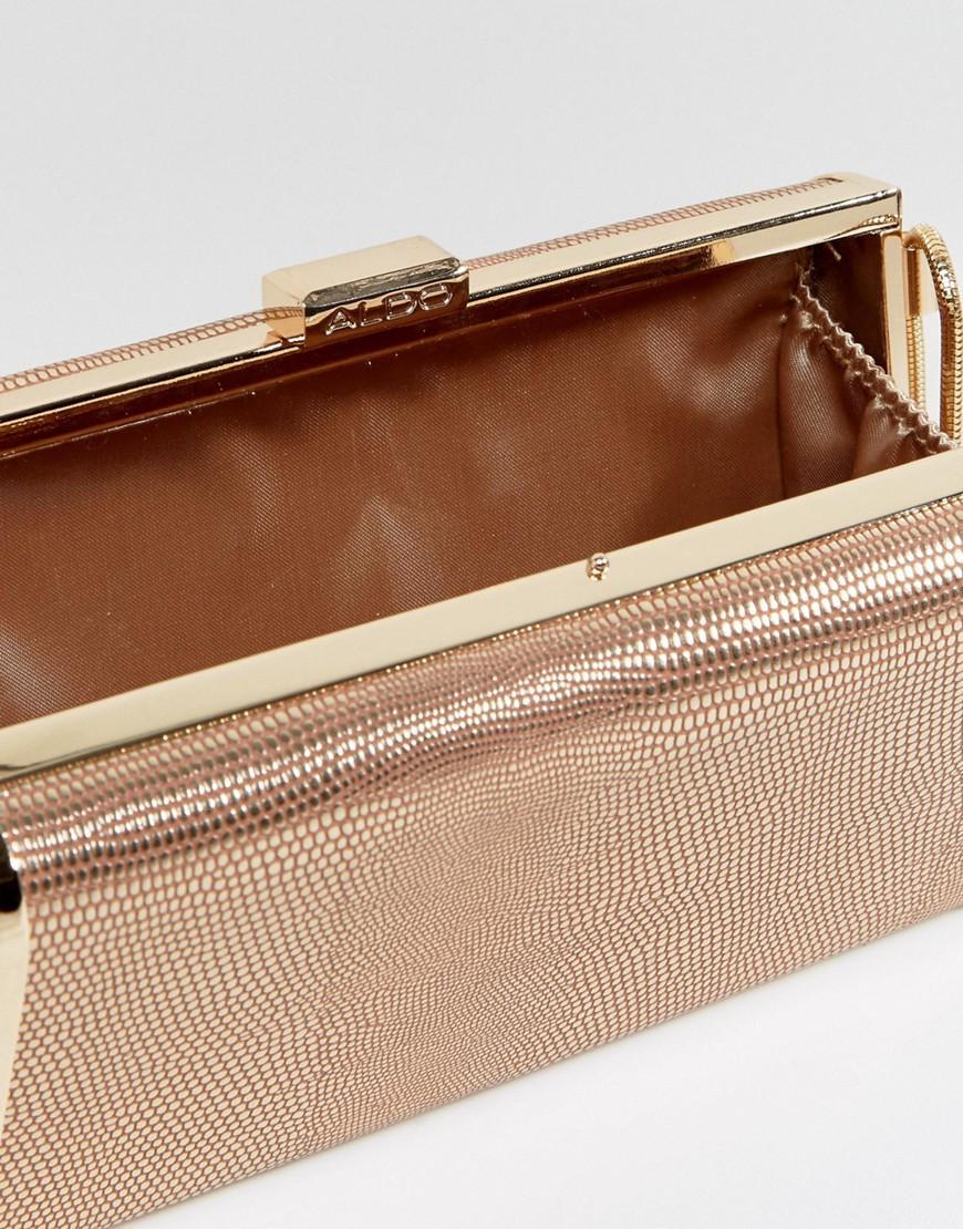 ALDO Rose Gold Box Clutch With Cross Body Chain in Metallic