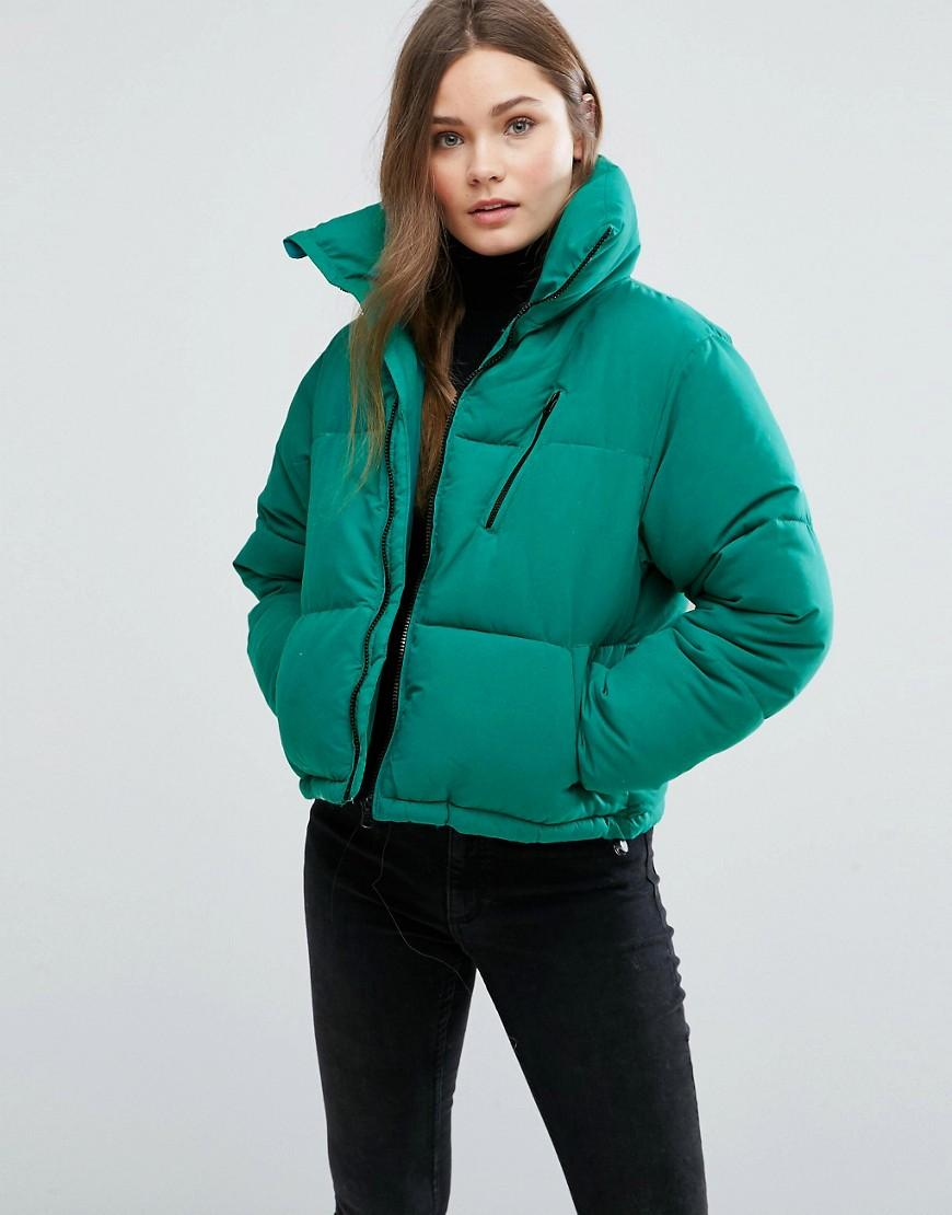 Lyst New Look Padded Boxy Jacket In Green