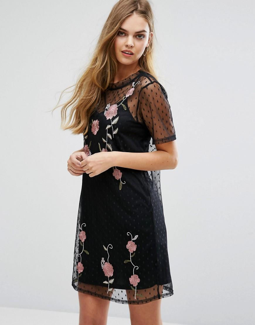 New look embroidered mesh t shirt dress in black lyst for Embroidered mesh t shirt