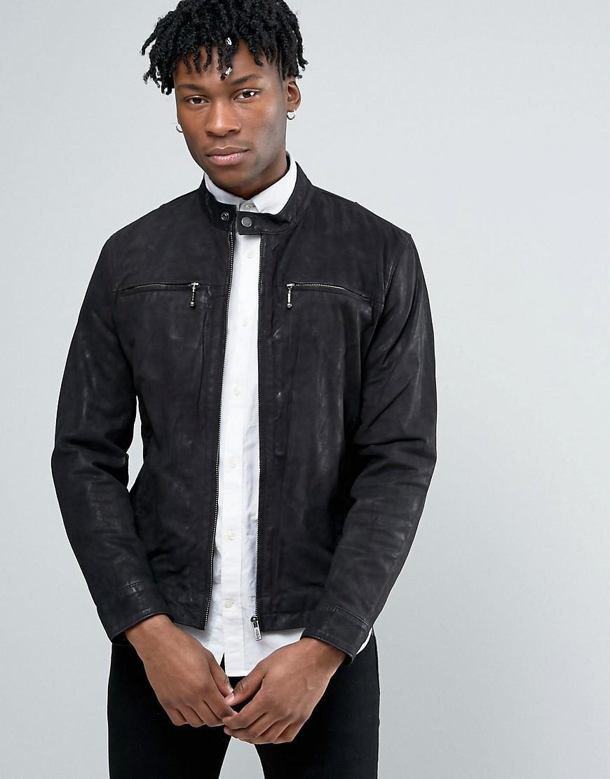 pepe jeans leather jacket in black for men lyst. Black Bedroom Furniture Sets. Home Design Ideas
