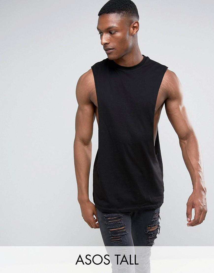 Asos tall longline sleeveless t shirt with extreme dropped for Tall sleeveless t shirts