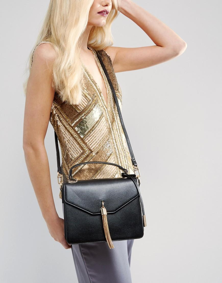 Dune Delina Tassell Crossbody Bag in Black
