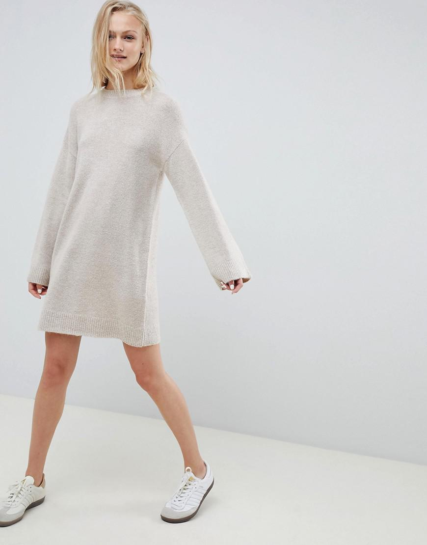 88603ab4047f6 Lyst - ASOS Knitted Mini Dress In Fluffy Yarn in Natural