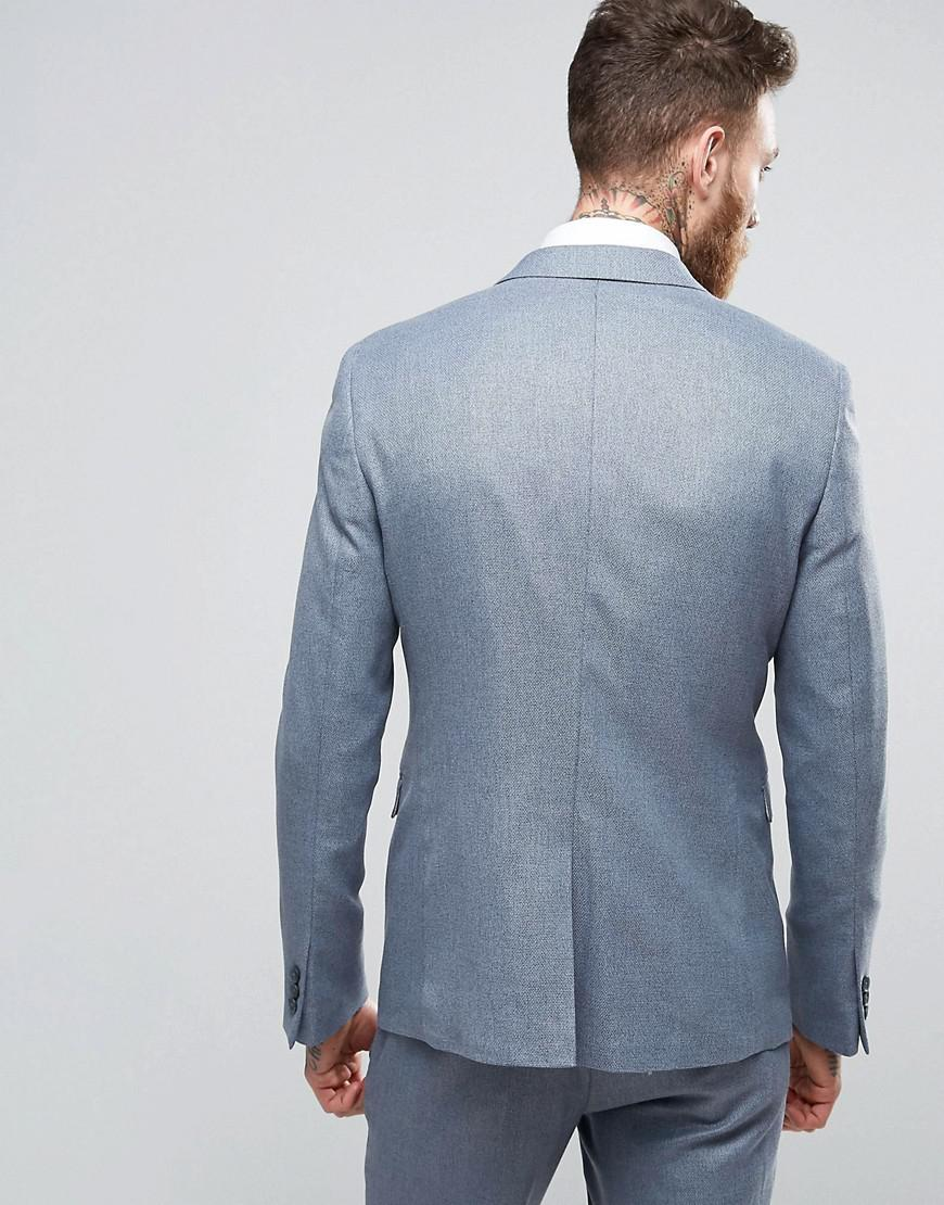 ASOS Synthetic Wedding Skinny Suit Jacket In Slate Grey Micro Texture in Grey for Men