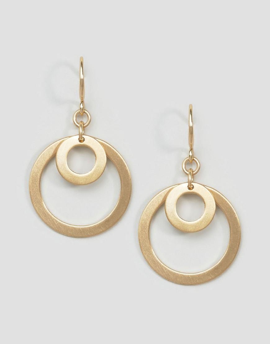 lyst pilgrim gold plated simplistic double hoop drop. Black Bedroom Furniture Sets. Home Design Ideas