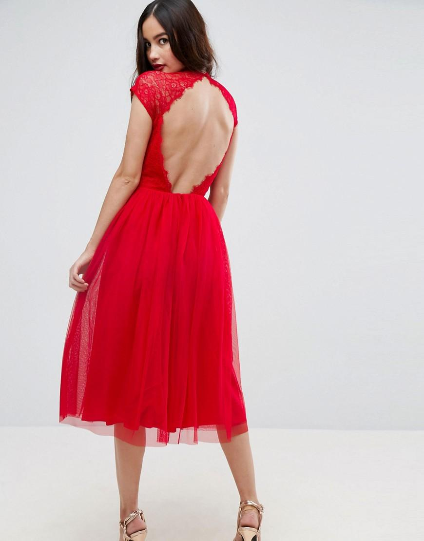 Lyst Asos Premium Lace Tulle Midi Prom Dress In Red