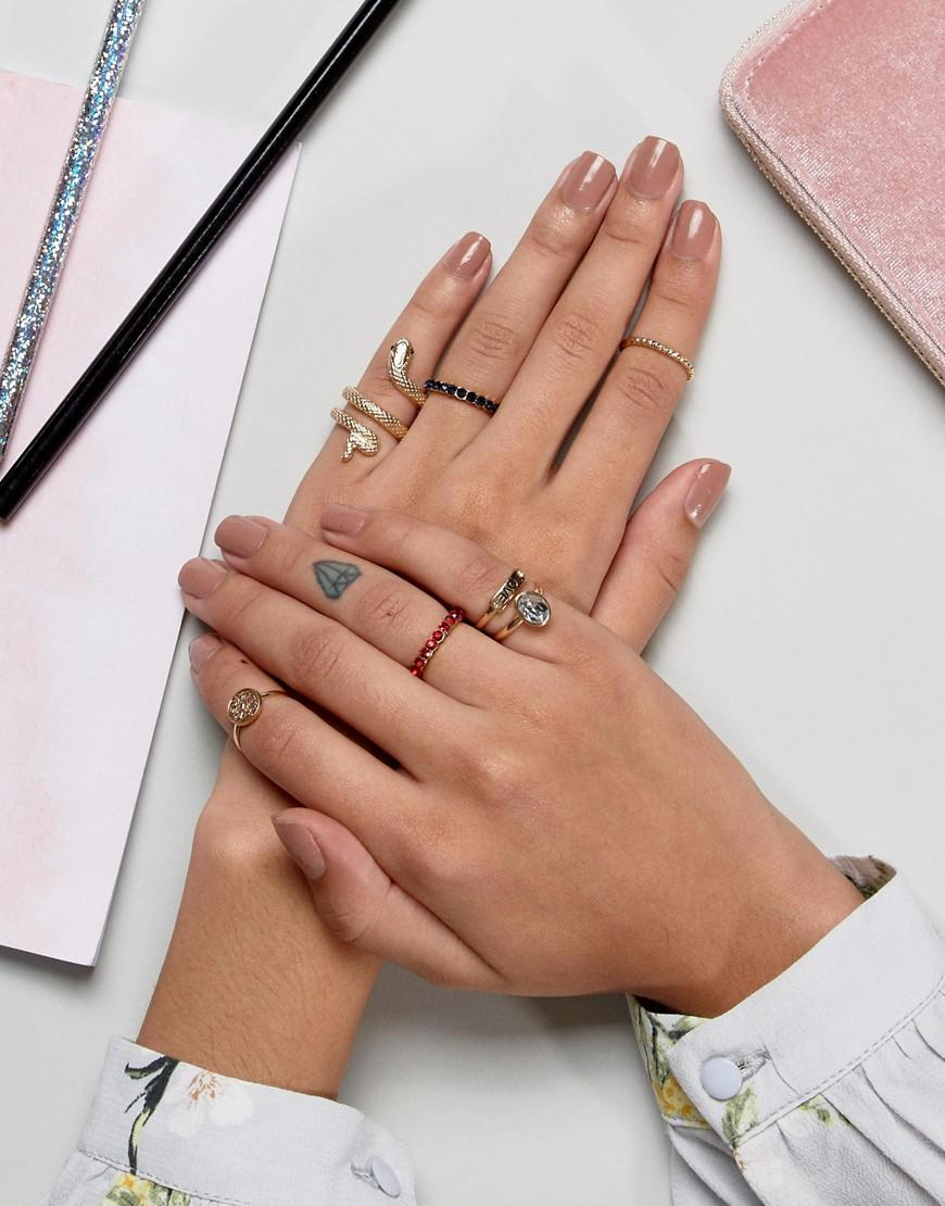 New Look Snake And Love Ring Stack Pack in Gold (Metallic)