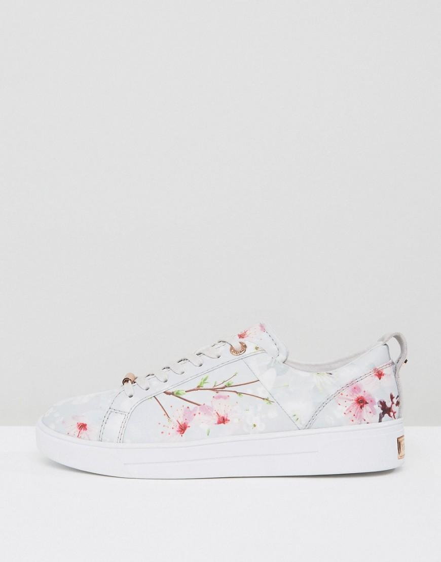 Ted Baker Orulo Blossom Print Trainers in White