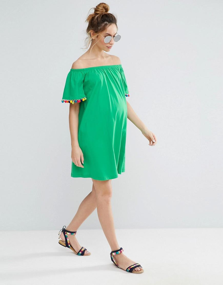 Lyst - Asos Off Shoulder Pom Pom Sundress in Green