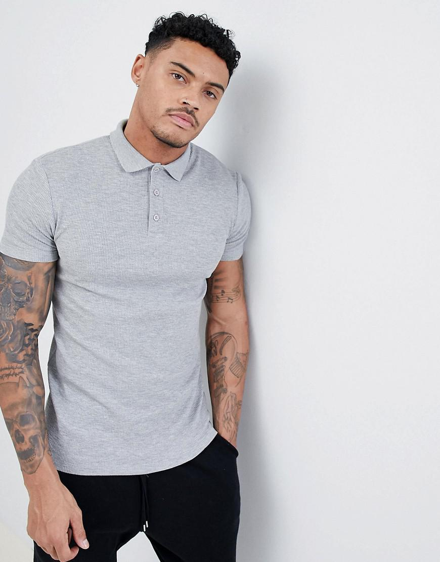 ASOS. Men's Gray Design Muscle Polo Shirt In Textured Waffle